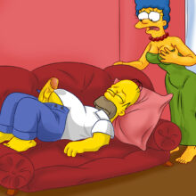 Marge gives Homer a hot blowjob on the couch xl-toons.win